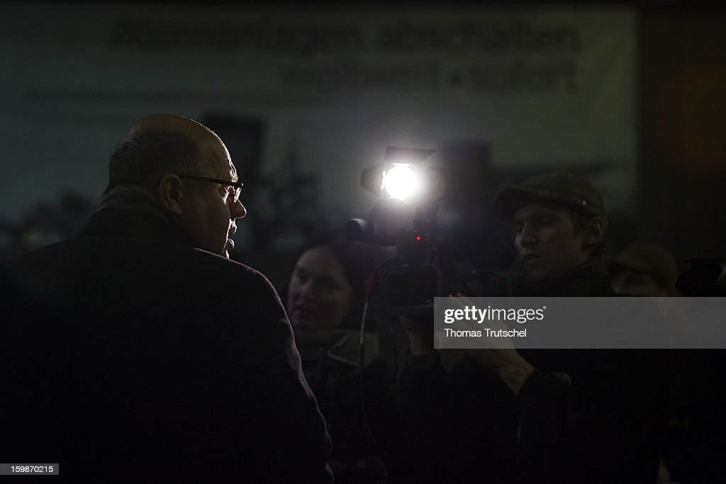 German Environment Minister Peter Altmaier speeks to the press during his visit in the Wendland region in Lower Saxony on January 21, 2013 in Luechow. Altmaier met people from the region to discus the problems of storing nuclear waste in Gorleben.