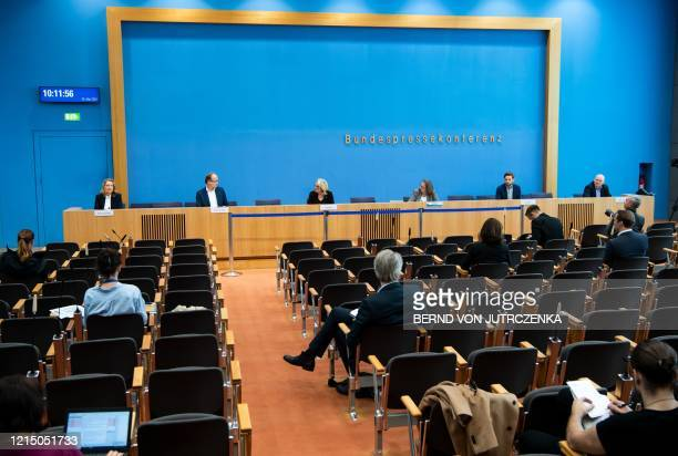 German Environment Minister Svenja Schulze gives a press conference on May 25 2020 in Berlin with Claudia Kemfert from the German Institute for...