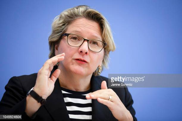 German Environment Minister Svenja Schulze is pictured during a press conference at the Federal Press Office on October 02 2018 in Berlin Germany
