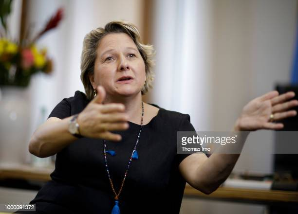 German Environment Minister Svenja Schulze is pictured during an interview on May 09 2018 in Berlin Germany