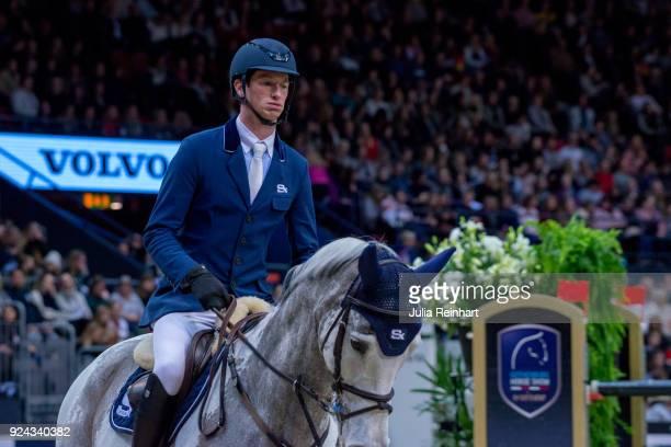 German equestrian Daniel Deusser on Cornet rides in the Accumulator Show Jumping Competition during the Gothenburg Horse Show in Scandinavium Arena...