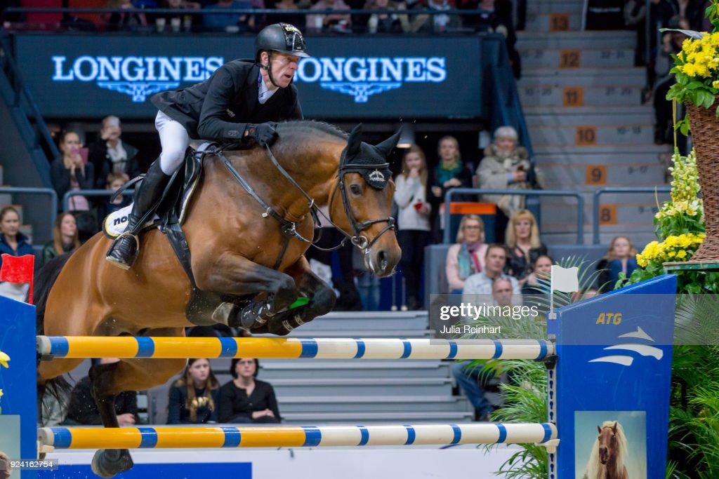 German equestrian Marcus Ehning on Comme il Faut places seventh in the FEI Longines World Cup jumping during the Gothenburg Horse Show in Scandinavium Arena on February 24, 2018 in Gothenburg, Sweden.