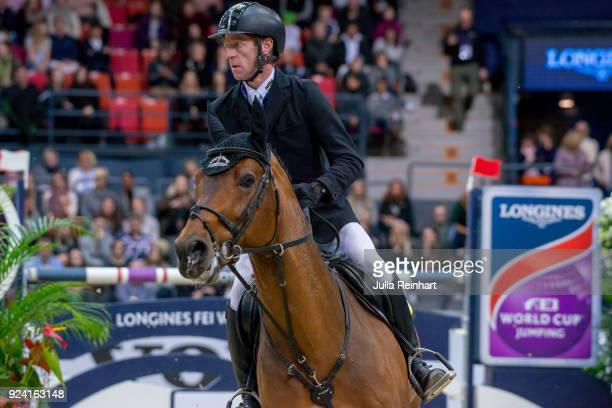 German equestrian Marcus Ehning on Comme il Faut places seventh in the FEI Longines World Cup jumping during the Gothenburg Horse Show in...