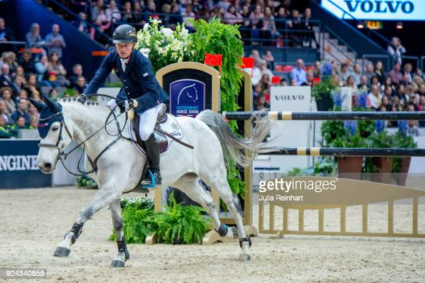 German equestrian Michael Jung on fischerDaily Impressed rides in the Accumulator Show Jumping Competition during the Gothenburg Horse Show in...