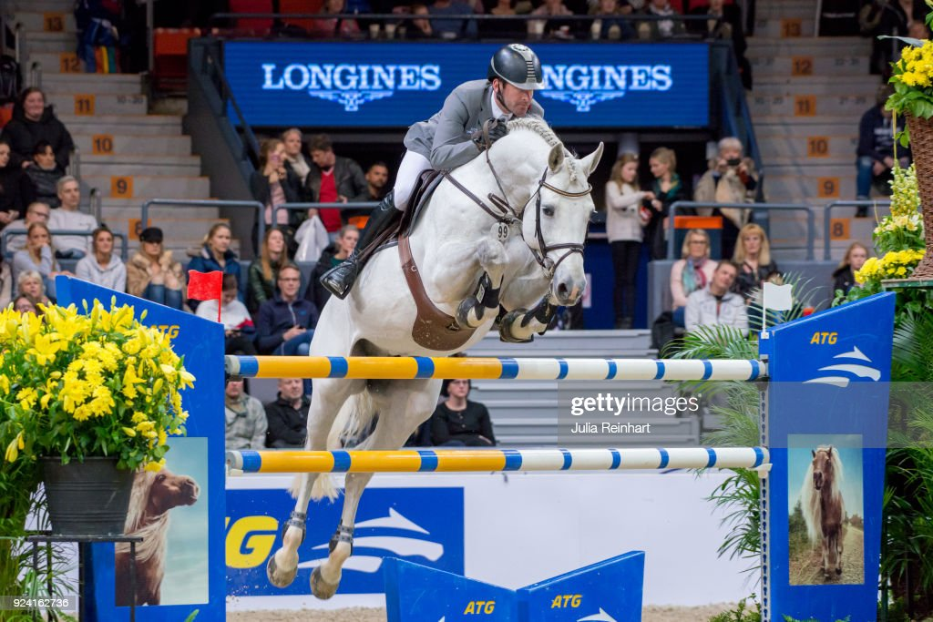 German equestrian Philipp Weishaupt on LB Cornvall places eleventh in the FEI Longines World Cup jumping during the Gothenburg Horse Show in Scandinavium Arena on February 24, 2018 in Gothenburg, Sweden.