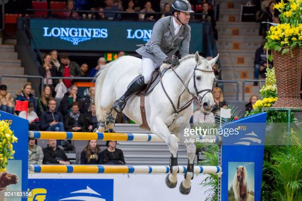German equestrian Philipp Weishaupt on LB Cornvall places eleventh in the FEI Longines World Cup jumping during the Gothenburg Horse Show in...