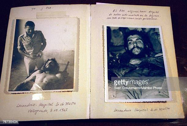 VALLEGRANDE BOLIVIA SEPTEMBER 10 2004 German Erich Bloessl's pictures of the dead Che Guevara in the laundry of the Senor de Malta hospital in...