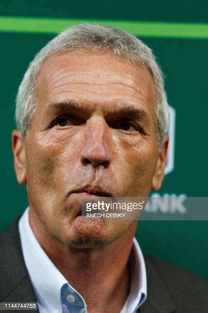 German Ernst Middendorp the Head Coach of of Kaizer Chiefs FC does pre match interviews ahead of the Nedbank Cup football Final held at the Moses...