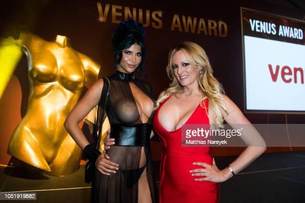German erotic model Micaela Schaefer and Stormy Daniels attend the Venus Award during the Venus Erotic Fair 2018 at Hotel Ellington on October 11...