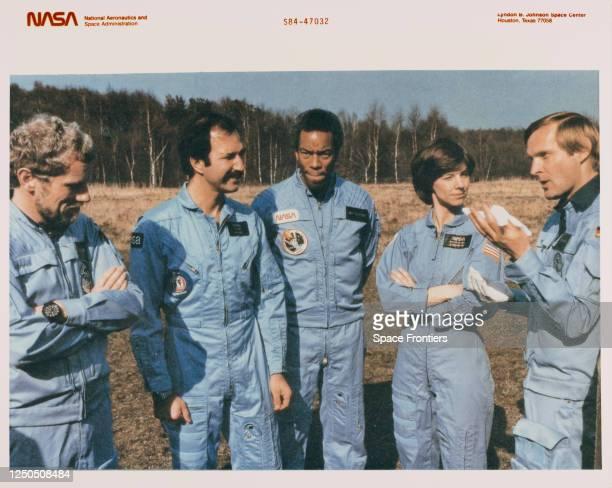 German ESA astronaut Reinhard Furrer , Dutch ESA astronaut Wubbo Ockels , American NASA astronaut Guion Bluford, American NASA astronaut Bonnie J...