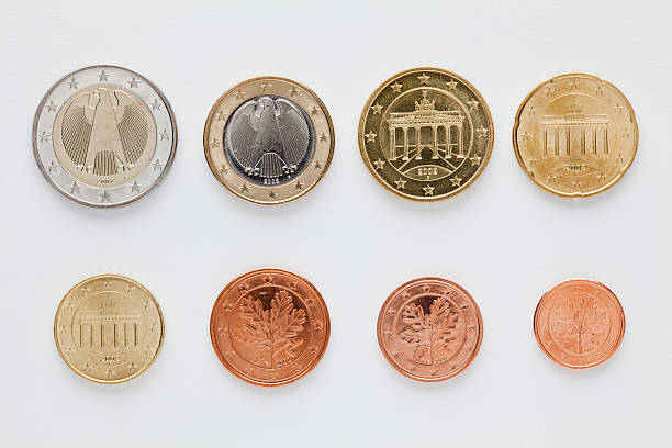 German Euro Coins Arranged In Numerical Order, Rear View Wall Art