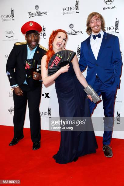 German eurodance group Captain Jack attends the Echo award red carpet on April 6 2017 in Berlin Germany