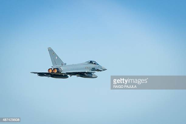 German eurofighter makes a fly-by during the visit of of German air force chief Lieutenant general Karl Muellner at the Amari Air Base in Harjumaa,...
