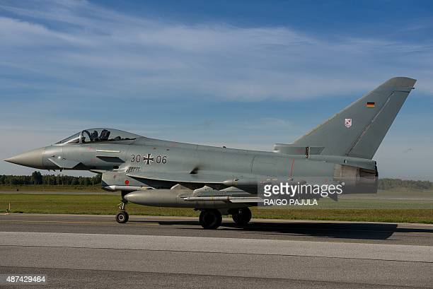 German eurofighter prepares for take off during the visit of of German air force chief Lieutenant general Karl Muellner at the Amari Air Base in...