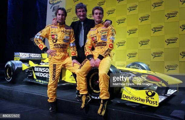 German F1 driver HeinzHarald Frentzen Eddie Jordan and Italian F1 driver Jarno Trulli Jordan unveiled his new Formula One car at the Theatre Royal in...