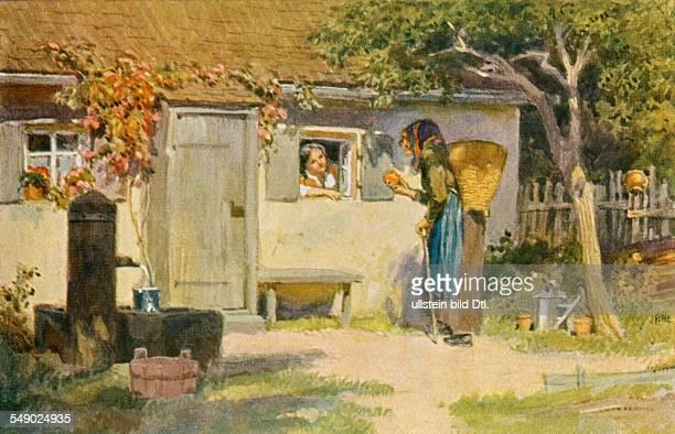 german fairy tales 'Snow White and the Seven Dwarfs' Illustration P Hey collector cards 'Deutsche Maerchen' 1930ies