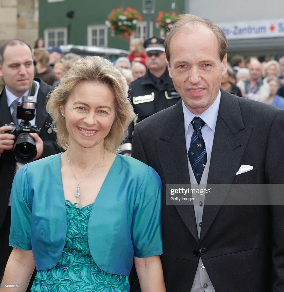 German family minister Dr. Ursula von der Leyen and her husband Prof. Dr. Heiko von der Leyen attend the wedding ceremony of Prince Alexander zu Schaumburg Lippe and Nadja Anna Zsoeks at the city church on June 30, 2007 in Bueckeburg, Germany.