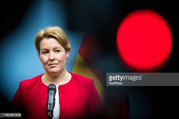 German Family Minister Franziska Giffey and German Minister for Education and Research Anja Karliczek hold a press conference on the law design to...