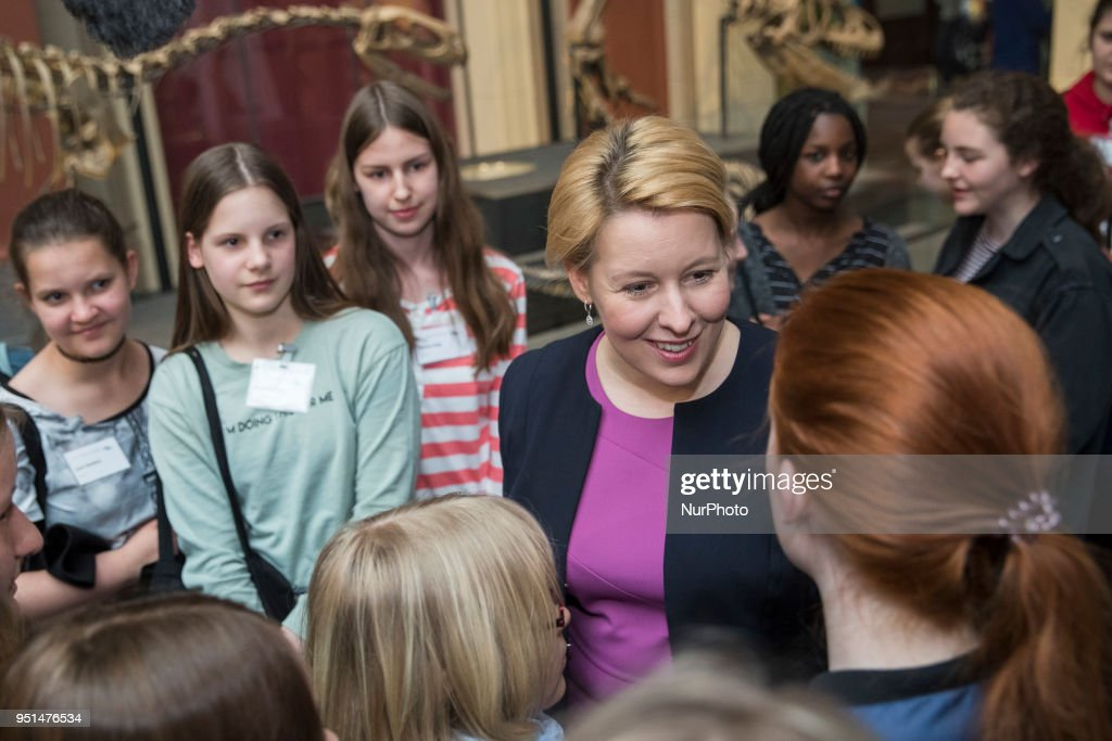 Family Minister Franziska Giffey attends visits Museum for Natural History for the annual Girls' day