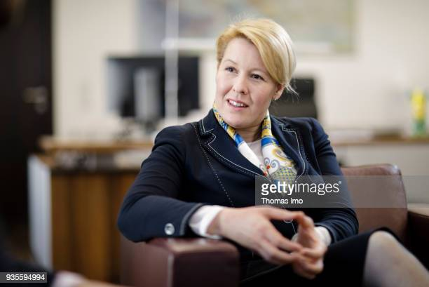 BERLIN GERMANY MARCH 06 German Family Minister Franziska Giffey during an interview on March 19 2018 in Berlin Germany on March 19 2018 in Berlin...