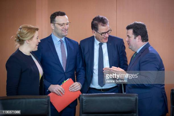 German Family Minister Franziska Giffey German Health Minister Jens Spahn German Development Minister Gerd Mueller and German Minister of Work and...