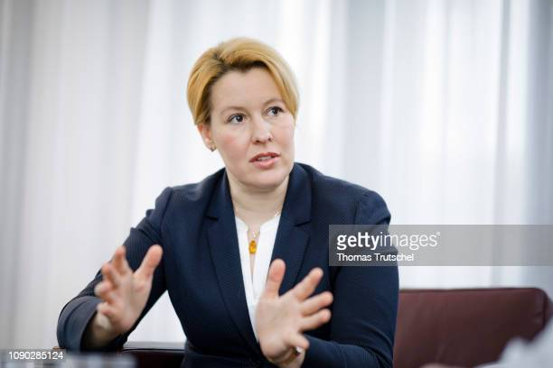 German Family Minister Franziska Giffey gestures during an interview on January 21 2019 in Berlin Germany