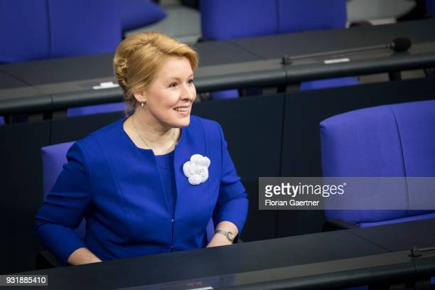 German Family Minister Franziska Giffey is pictured before the swearingin ceremony of the new federal government on March 14 2018 in Berlin Germany...