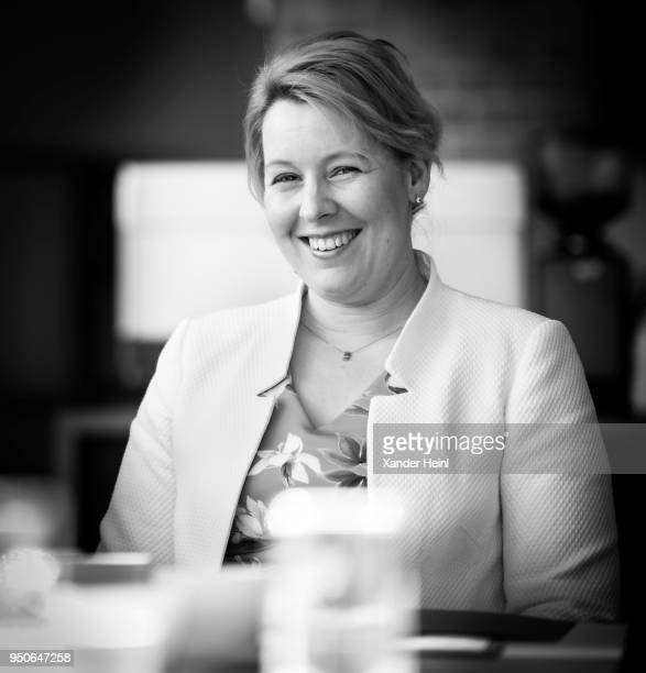 German Family Minister Franziska Giffey laughs at a meeting with the Community Foundation Barnim Uckermark on April 06 2018 in Eberswalde Germany The...