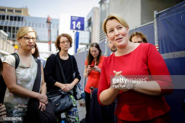German Family Minister Franziska Giffey speaks to journalists on August 29 2018 in Frankfurt am Main Germany Giffey is on a three day summer tour...