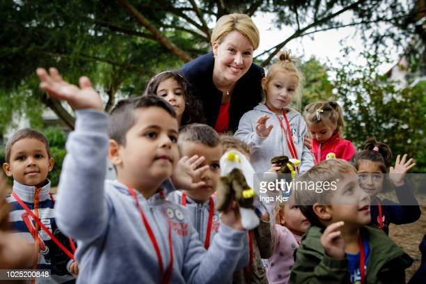 German Family Minister Franziska Giffey visits the daycare of the year on August 30 2018 in Maintal Germany Giffey is on a three day summer tour...