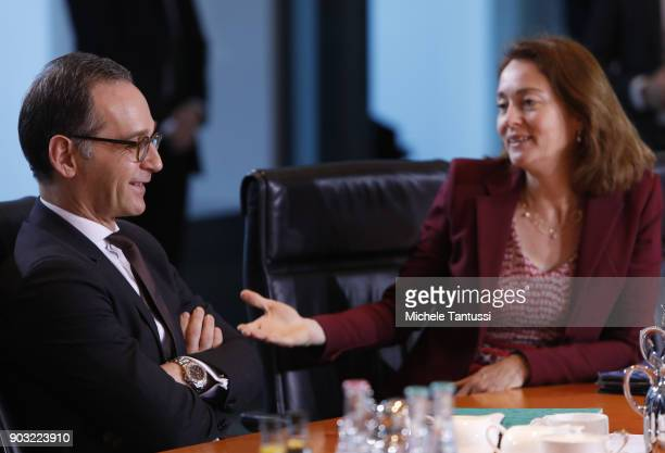 German Family Minister Katarina Barley and german Justice minister Heiko Maas arrive for a cabinet meeting of Germany's interim government on January...