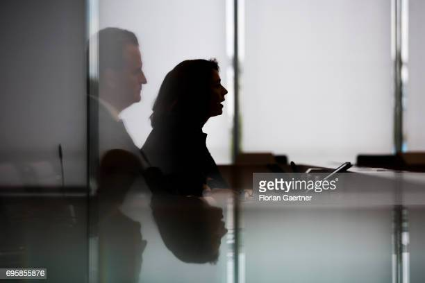 German Family Minister Katarina Barley and State Secretary ob the Federal Ministry of the Interior Guenter Krings are pictured after a press...