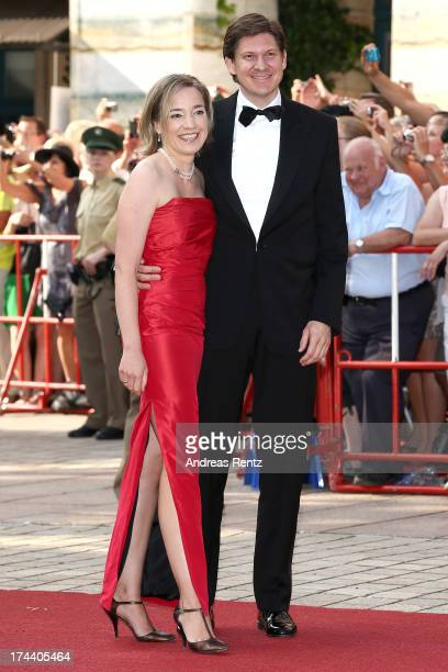 German Family Minister Kristina Schroeder and her husband Ole Schroeder attend Bayreuth Festival Opening 2013 on July 25 2013 in Bayreuth Germany