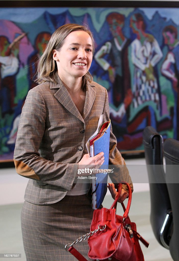 German Family Minister Kristina Schroeder arrives for the weekly German federal cabinet meeting on February 27, 2013 in Berlin, Germany. High on the morning's agenda was discussion of the country's annual report on disarmament as well as of potential modifications to a law on employment rights for foreigners.