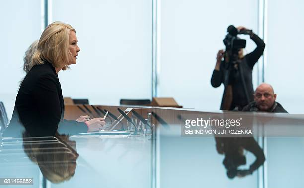 German Family Minister Manuela Schwesig gives a press conference on January 11 2017 in Berlin German companies will be forced to be more transparent...