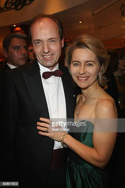German Family Minister Ursula von der Leyen and her husband Heiko von der Leyen attend the Bundespresseball 2008 at the Intercontinental hotel on...