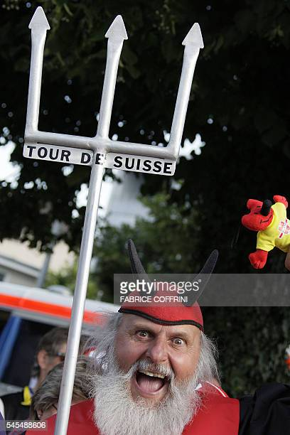 German fan Didi Senft nicknamed El Diablo poses in the podium area 16 June 2007 of the prologue of the 71th 'Tour de Suisse' UCI protour cycling...