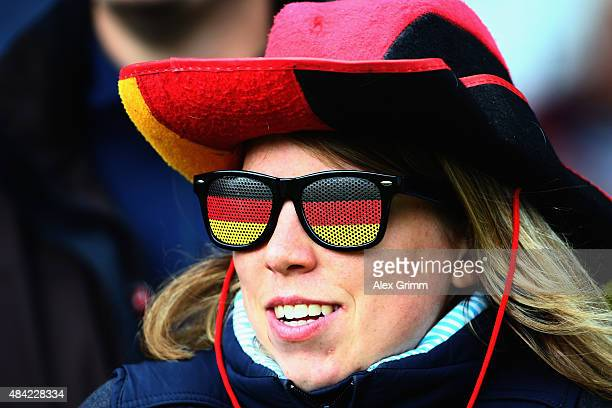 German fan watches the Dressage Grand Prix Freestyle individual competition on Day 5 of the FEI European Equestrian Championship 2015 on August 16...