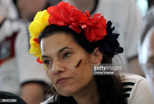 German fan watches the German national team play in their 2018 FIFA World Cup Russia match against Korea at Deutsches Fussball Museum on June 27 2018...