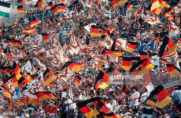 German fans are seen during the FIFA World Cup quarter final match between Czechoslovakia and Germany at the Guiseppe Meazza Stadium on July 1 1990...