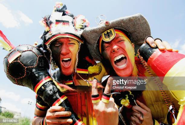 German fans before the Semi Final Match between Germany and Brazil in the FIFA Confederations Cup 2005 at the Franken Stadium on June 25 2005 in...