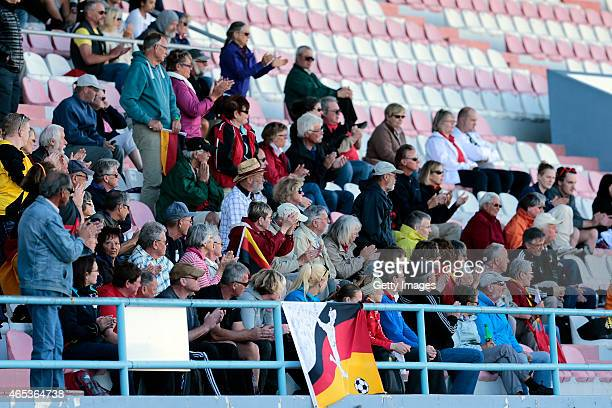 German fans cheering the injured Luisa Wensing of Germany as she leaves during the Women's Algarve Cup match between Germany and China on March 6...