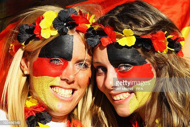 German fans enjoy the atmosphere prior to the 2010 FIFA World Cup South Africa Round of Sixteen match between Germany and England at Free State...