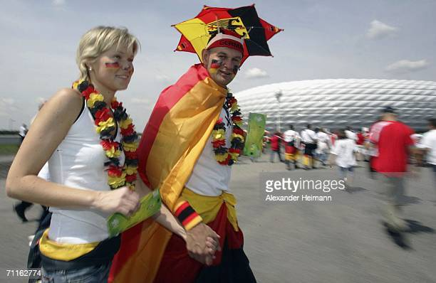 German fans enjoy the atmosphere prior to the FIFA World Cup Opening Match between Group A teams Germany and Costa Rica at FIFA World Cup Stadium...