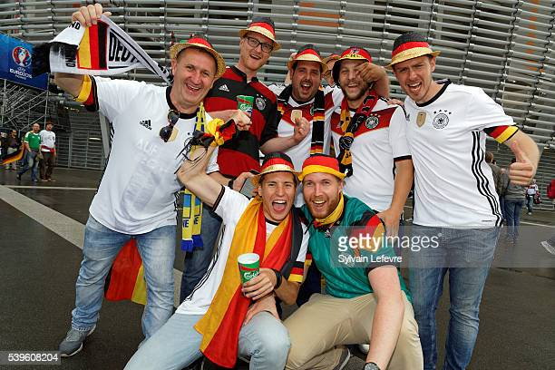 German fans gatherprior to the UEFA EURO 2016 Group C match between Germany and Ukraine at Stade PierreMauroy on June 12 2016 in Lille France