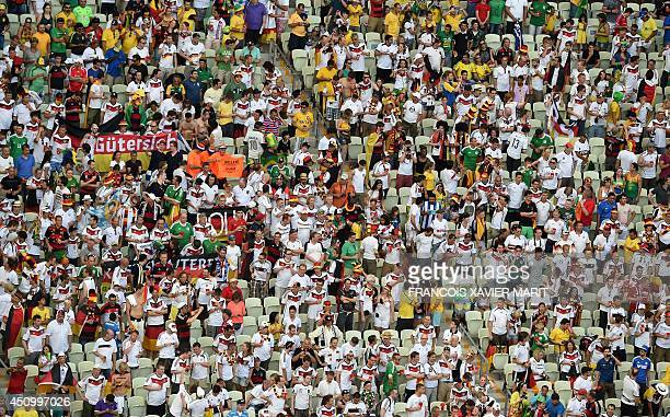 German fans react during a Group G football match between Germany and Ghana at the Castelao Stadium in Fortaleza during the 2014 FIFA World Cup on...