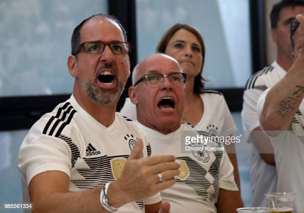 German fans watch the German national team play in their 2018 FIFA World Cup Russia match against Korea at Deutsches Fussball Museum on June 27 2018...