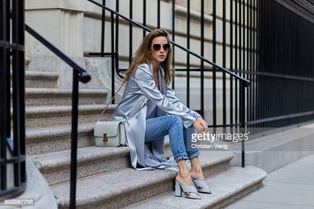 ec7704f6 German fashion blogger and model Alexandra Lapp grey silk trench coat from  Galvan Re Done Levis