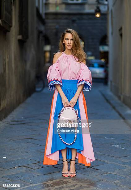 German fashion blogger and model Alexandra Lapp is wearing offtheshoulder embroidered cottonpoplin blouse by Peter Pilotto asymmetric cottonpoplin...