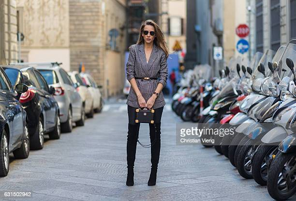 e02040b2366 German fashion blogger and model Alexandra Lapp is wearing leather pants  from Set suede overknee boots